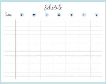 Printable Weekly Schedule, PDF Instant Download