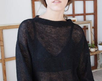 OVERSIZED MOHAIR JUMPER - hand knitted see-through wool black one size