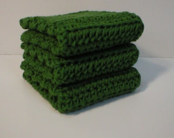 Handmade Crochet Cotton Dishcloths or Washcloths, Set of Three in Jalapeno Green (Dishcloths2137)