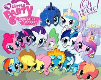 15 My Little Pony Theme Digital Birthday Mask Favors