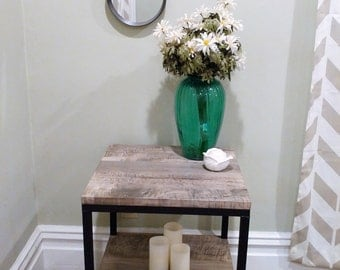 Handcrafted Steel and Wood End Table with two shelves!!