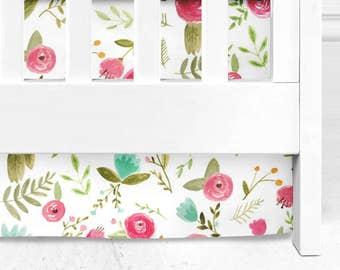 Bohemian Floral crib skirt, baby girl bedding, baby girl nursery, floral nursery,  Pink roses, floral baby crib skirt, baby girl nursery