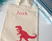 Dinosaur mini tote bag, Tyrannosaurus dino party bag, gift for boy. Dinosaur birthday gift. Kids children party idea. T-rex. 100% cotton