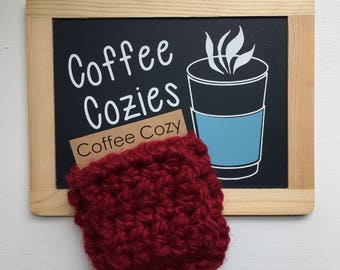 Coffee Cozy | Crochet Coffee Cozy |  Coffee Sleeve - Red