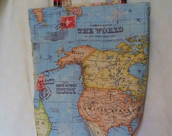 Worldmap Totebag blue Shoppingbag Hello to the World Tote Welcome to the World Babyshower Travellerbag Marketbag