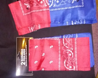 2pk. Red and blue bandana