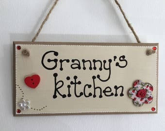 Granny's Kitchen handmade wooden gift plaque