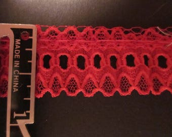 Red ruffled lace edge trim