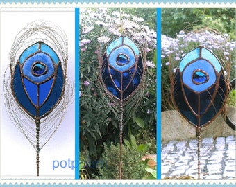 3 Peacock Peer / tiffany / stained glass blue / garden / handmade original / Stained Glass Caboschon stained glass