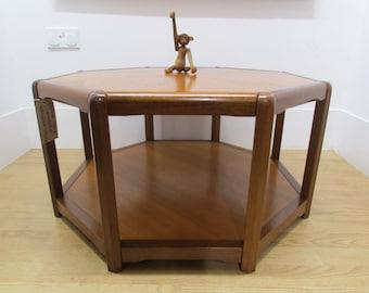 Danish Sunburst Octagonal Coffee Table In Teak By Halshop Denmark 1960'S