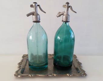 old soda bottle, siphon, shabby chic, vintage, turquoise