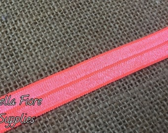 Neon Coral Fold Over Elastic- FOE- Coral Elastic- 5/8 Inch Elastic- Wholesale- DIY Headband- Elastic by the Yard