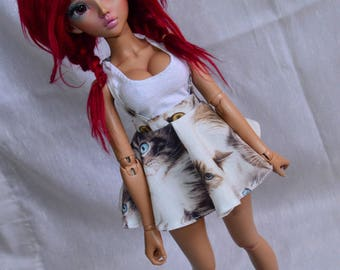 Skirt with straps with print of cats from BJD minifee