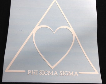 Phi Sigma Sigma Heart/Triangle Sorority Decal Laptop, Tumbler, Water Bottle, Car, Mirror Decal