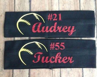 "2.5"" Personalized Name/Team Name Softball/ Sports Headbands"