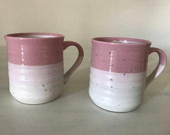 Ceramic Coffee Mug Set of 2 - Pink Coffee Cups - Rustic Coffee Mugs - Accent plate