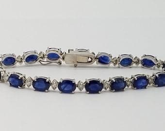 "Vintage 17 Carat Natural Sapphire, Diamond & 14K White Gold Tennis Bracelet - 7.25"""