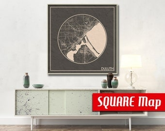 DULUTH MN SQUARE Map Duluth Minnesota Poster City Map Duluth Minnesota Art Print Duluth Minnesota poster Duluth map