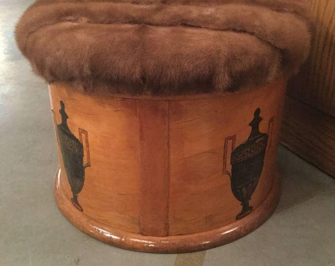 Late 19th c. Knitting Box in Mink Cover  with Lap desk converted into a storage Foot stool