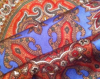 Vivid Blue and Red 1960s Paisley Scarf