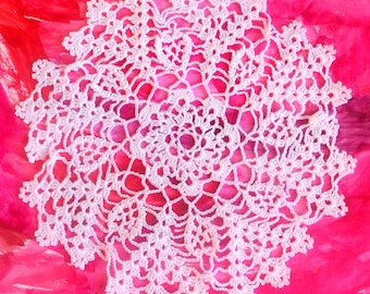 8 inch Crochet White Doily, Handmade Round Cotton Doily, White Lace Table Setting, Custom Numbers of Doilies,