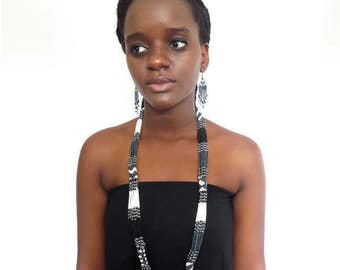 African Zulu beaded long necklace – Black/white/gunmetal