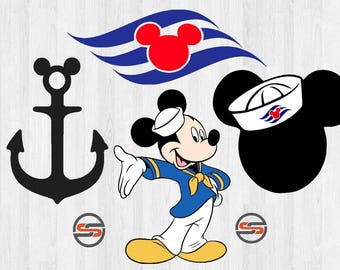 Disney Cruise SVG, Mickey Mouse Sailor DXF, Mickey Sailor Hat, Disney Cruise Ship, Mickey Mouse Ear, Cut File, Transfer,Instant Download