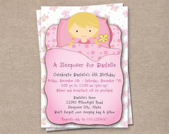 Sleepover Invitation - Pajama Party Invitation - Birthday Party Invitation - Girls Birthday Invitation - Sleepover Printable Invitation