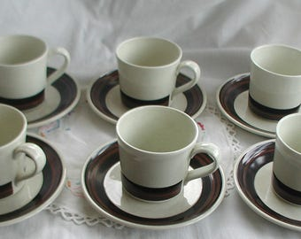 Retro Royal Doulton Coffe Cups and Saucers Set of Six