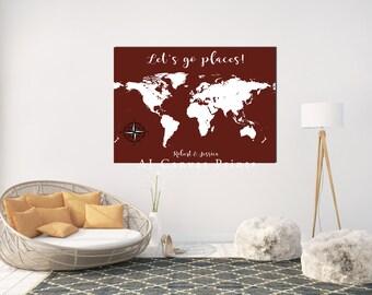 Personalized world map, world travels map, canvas world map, Push Pin World Map Poster, Custom Map Art, World Map Wall Art, traveling family