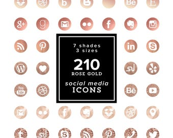 Rose Gold Social Media Icons Set - 210 png files - Rose Gold shades - Rose Gold Cliparts- 7 color tones 3 sizes INSTANT DOWNLOAD