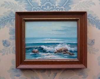 Small marine painting, oil on board, waves  breaking against rocks, seaside, marine, in original frame