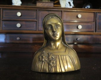 Gilt Art Nouveau Madonna bust with Lily flowers. Zamak bust of Mary the Holy Mother