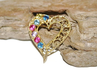 Colorful Rhinestone Heart Brooch, Gold Heart Brooch with Multi color Crystals, Filigree Heart Jewelry, Gift for Lover, Gift for Wife