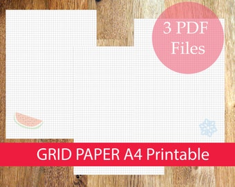 A4 Grid Paper Printable, Planner Inserts, Notes Paper Printable, PDF, Instant Download