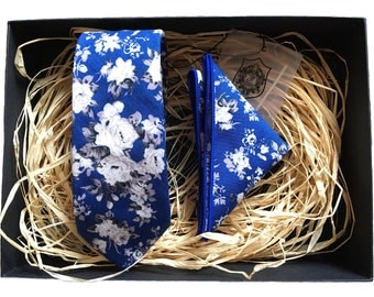 Tie and Pocket Square Duo Set by Poser Club - 'The Marine' Blue Floral Set