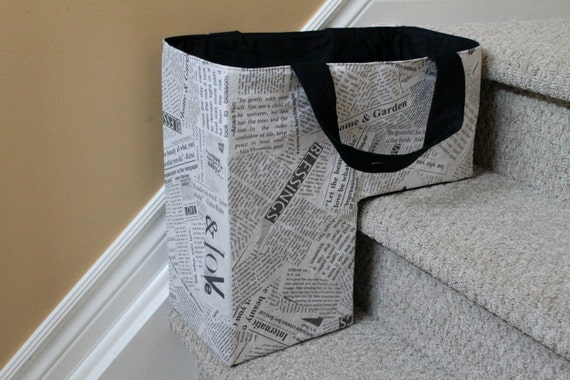 The Stair Duffel, soft storage basket, stair basket, staircase bin, housewarming gift, wedding gift, deck accessory