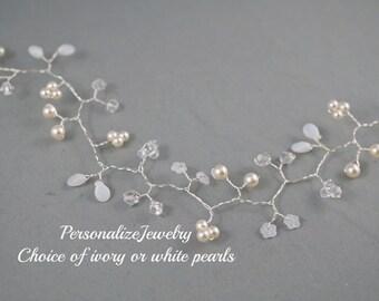 Bridal hair vines Wreaths Pearls Crystals Flower Silver vines Wedding hair accessories accessory Spring wedding vines Flexible Beaded Unique