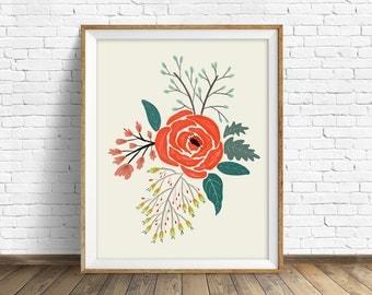 "floral art prints, flower wall art, folk art, instant download printable art, modern, contemporary, red, prints -""Folk Art Flowers No. 6"""