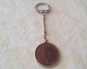 1945 Georgivs VI Great Britain One Penny Copper Coin Key Chain