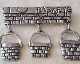 STUNNING Vintage Silver Tone Basket Bar Brooch