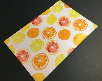 25 Designer CITRUS FRUIT Poly Mailers 10x13 Envelopes Shipping Bags