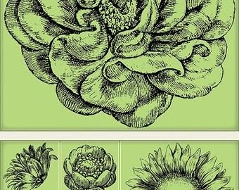 Inkadinkado Vintage Flora Cling Stamp Set