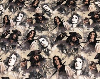 Pirates of the Caribbean fabric, movie fabric, pirate fabric, pirates, Hollywood, Disney fabric, yo ho yo ho, dead men tell no tales
