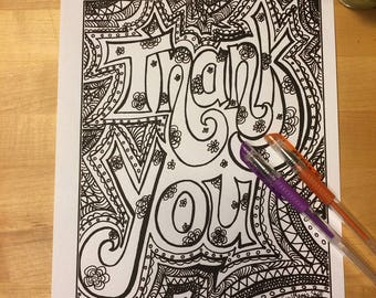 Thank You, Fancy Version, coloring page, Adult Coloring, digital download, 8.5X11 PDF, black and white, Thank You card, anti-stress Coloring