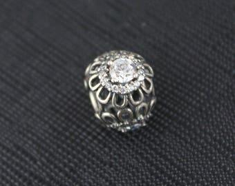 New Authentic Pandora Charm Bead Floral Brilliance Clear CZ 791260CZ