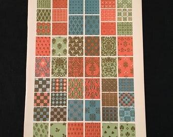 Medieval Ornament No. 3 - Diapers on Walls, Owen Jones - Original Antique Print, Grammar of Ornament, Vintage Decor