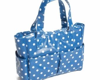 Hobbygift Blue Polka Dot PVC Craft Storage Bag