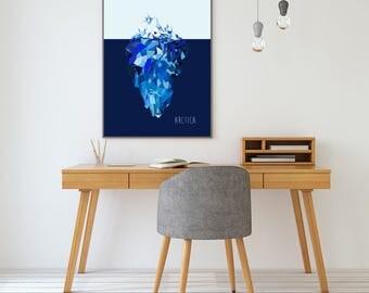 ICE MOUNTAIN - Art Print - Free Uk Shipping - Giclee Print