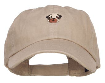 Pug Dog Face Embroidered Low Cap